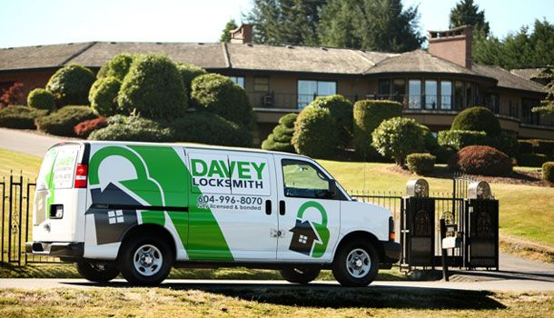 Davey Locksmith van outside house